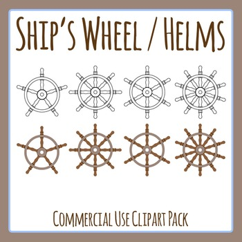 Ship's Wheel / Helm Different Numbers of Spokes Clip Art S