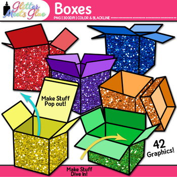 Box Clip Art {Rainbow Glitter Shipping and Moving Packages
