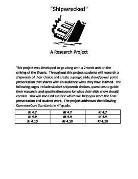 Shipwrecked...A Research Project