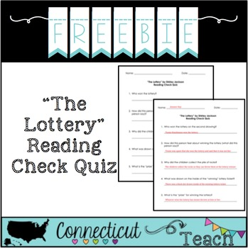 """Shirley Jackson's """"The Lottery"""" Reading Check Quiz"""