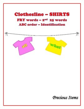 """Shirts on Clothesline """"FRY"""" Sight Words - 2nd 25"""