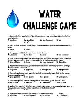 Shocking Water Facts! Enrichment/Challenge Activity