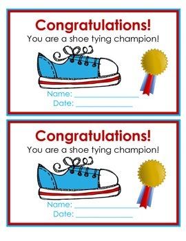 Shoe Tying Certificate (English / Spanish)