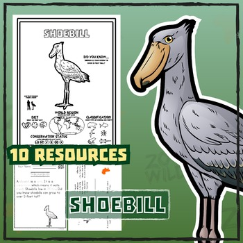 Shoebill Stork -- 10 Resources -- Coloring Pages, Reading