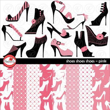 Shoes Shoes Shoes Pink Clipart and Digital Paper by Poppydreamz