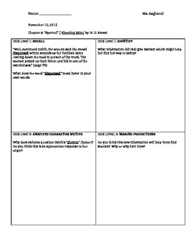 Shooting Kabul: Chapter 9 DOK guided reading questions
