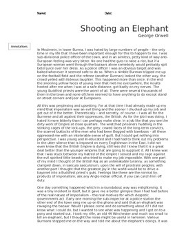 Shooting an Elephant Essay by George Orwell  Guided Text
