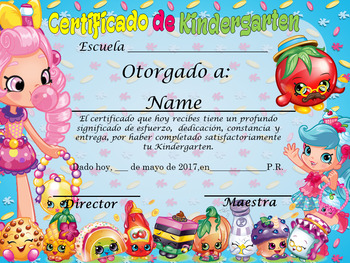 Shopkins Achievement Award English & Spanish version Editable!!!