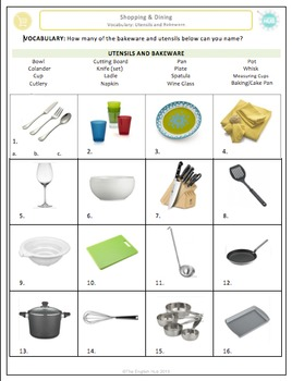 Shopping & Dining (A): Utensils and Bakeware Vocabulary  (