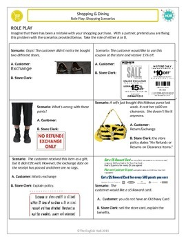 Shopping B: Role Playing Clothes Shopping Scenarios