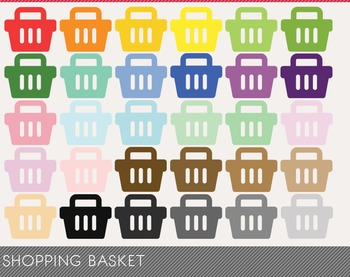 Shopping Basket Digital Clipart, Shopping Basket Graphics,
