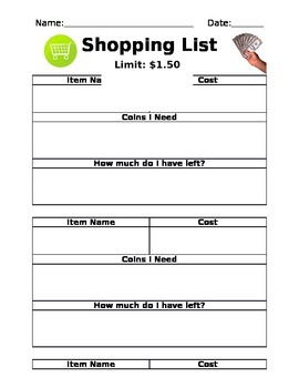 Shopping List - Money and Making Coin Amounts - Challenge