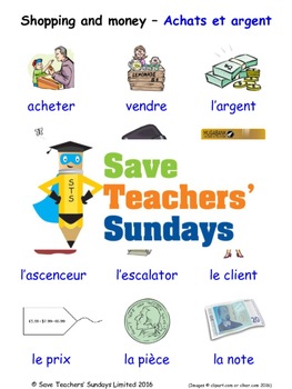 Shopping and Money in French Worksheets, Games, Activities