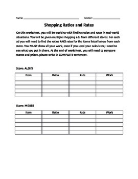 Shopping with Ratios and Rates