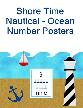 Shore Time - Ocean Nautical Theme Number Posters