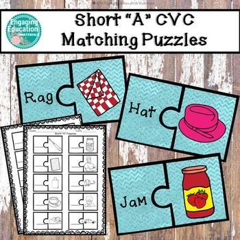 """Short """"A"""" CVC Puzzles & Recording Sheet"""