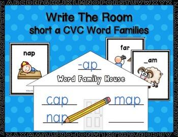 Short a  CVC Word Families Write-the-Room