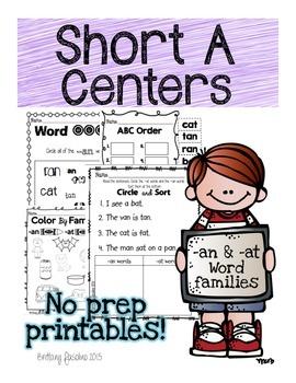 Short A Centers No Prep Printables
