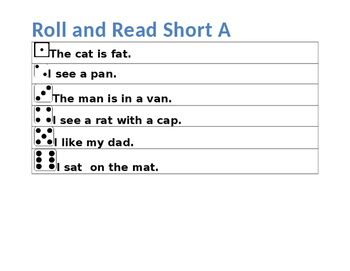 Short A  Dice activity with assessment