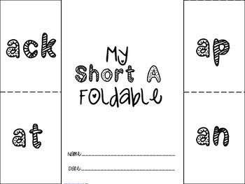 Phonics: Short A Foldable - ack,an,at,ap