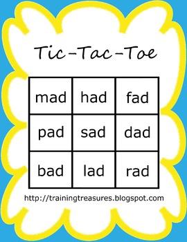 Short A Tic Tac Toe