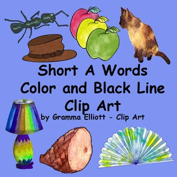 Short A Clip Art in Realistic Color and BW