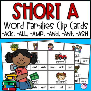 Short A Word Family  Clip Cards