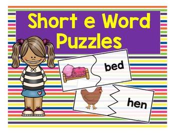 Short E CVC Word Puzzles