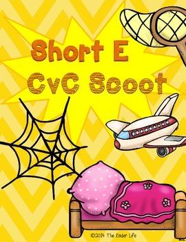 Short E CvC SCOOT Game- 16 CvC Word Cards PLUS 4 different