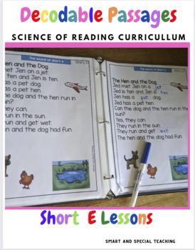 CVC Words Decodable Stories short  E With Cloze Passages