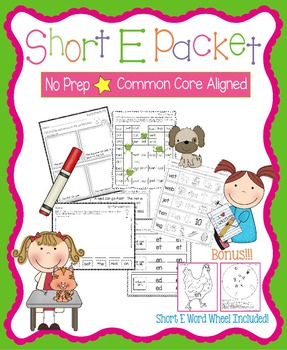 Short E No Prep Packet - Worksheets, Games and Activities,