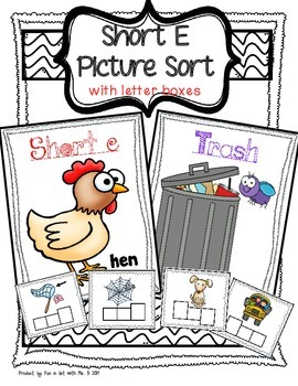 Short E Picture Sort with Spelling Boxes