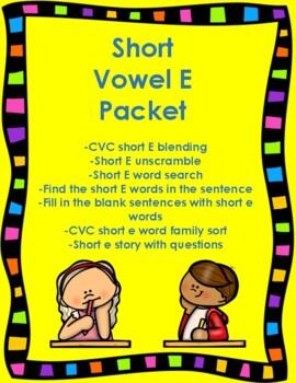Short E Vowel Packet