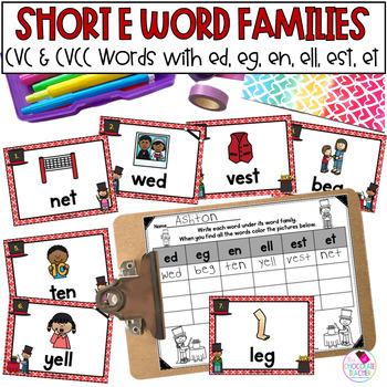 Short E Word Families Write the Room