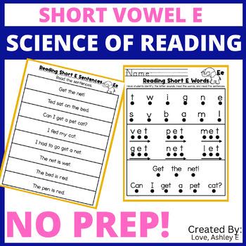 Short E Word Family Activities