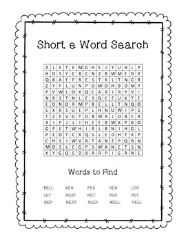 Short E Word Search