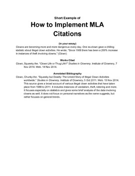 Short Example of MLA Citations