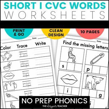 NO PREP Print & Go Short I CVC Word Work