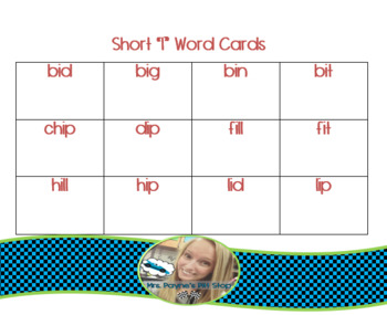 Short I Word Cards