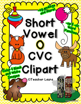 Short O Clipart - CVC words color and black and white