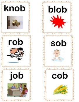 Short O Word Family Cards