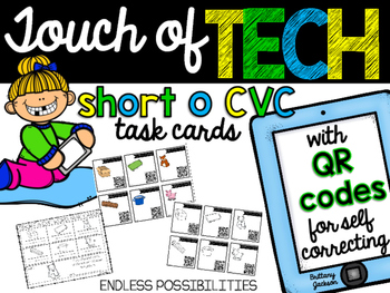 Short O cvc Task Cards with QR Codes for Self-Correcting
