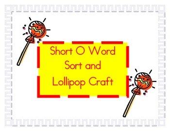 Short O lollipop word sort and craft