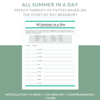 Short Story Activity for Speech Therapy - All Summer in a