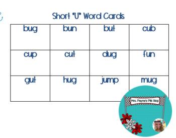 Short U Word Cards