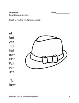 Short Vowel A Word Families Homework
