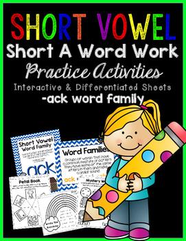 Short Vowel A Word Work {-ack Word Family} FREEBIE