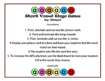 Short Vowel Bingo Board Game