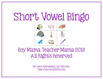 Short Vowel Bingo Game from Boy Mama Teacher Mama