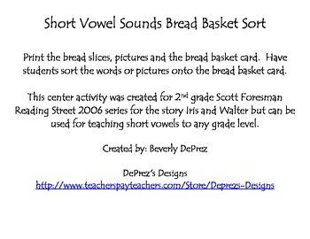 Short Vowel Bread Basket Sort Center Reading Street Grade
